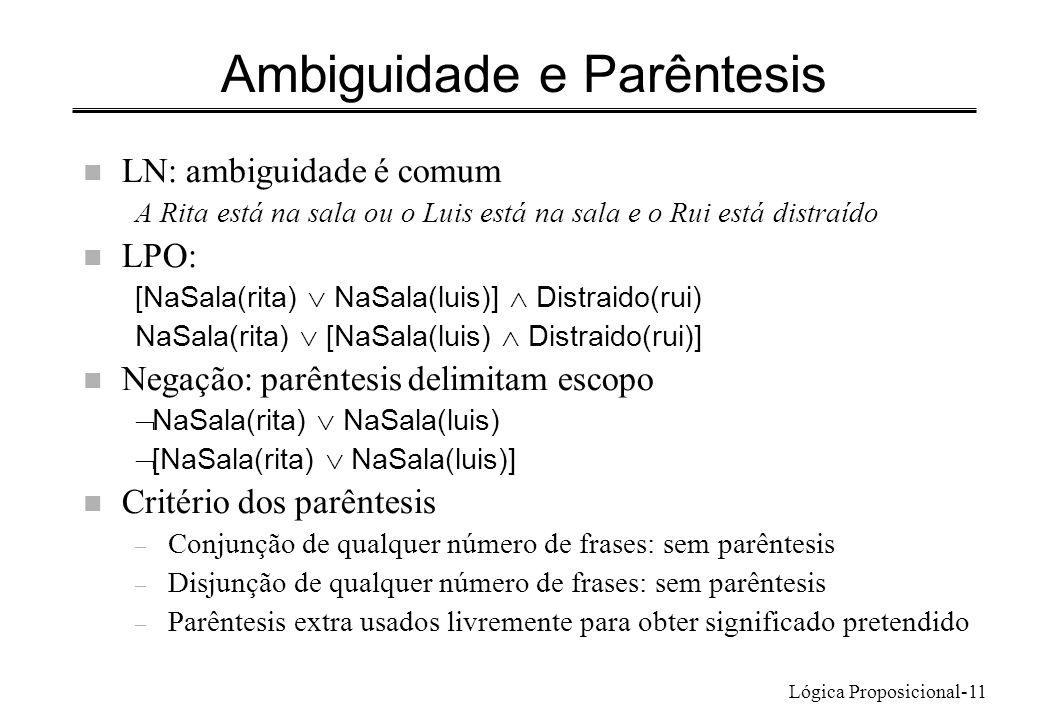Lógica Proposicional-11 Ambiguidade e Parêntesis n LN: ambiguidade é comum A Rita está na sala ou o Luis está na sala e o Rui está distraído n LPO: [N