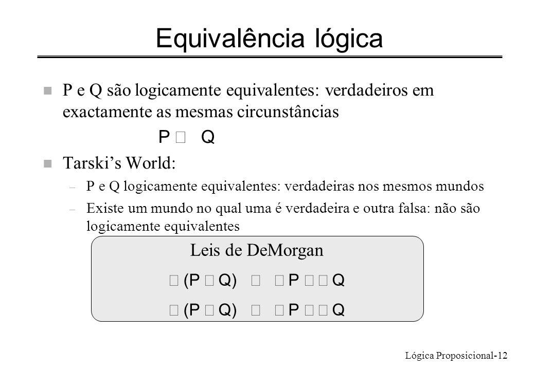 Lógica Proposicional-12 Equivalência lógica n P e Q são logicamente equivalentes: verdadeiros em exactamente as mesmas circunstâncias P Q n Tarskis Wo