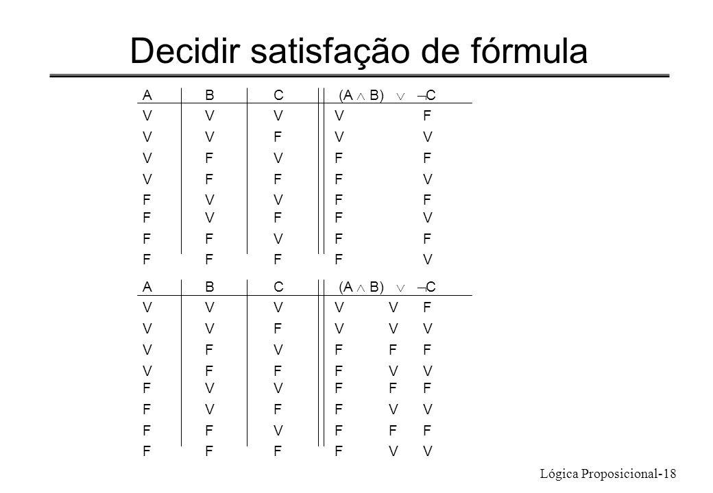 Lógica Proposicional-18 Decidir satisfação de fórmula ABC (A B) C VVVVF VVFVV VFVFF VFFFV FVVFF FVFFV FFVFF FFFFV ABC (A B) C VVVVVF VVFVVV VFVFFF VFF