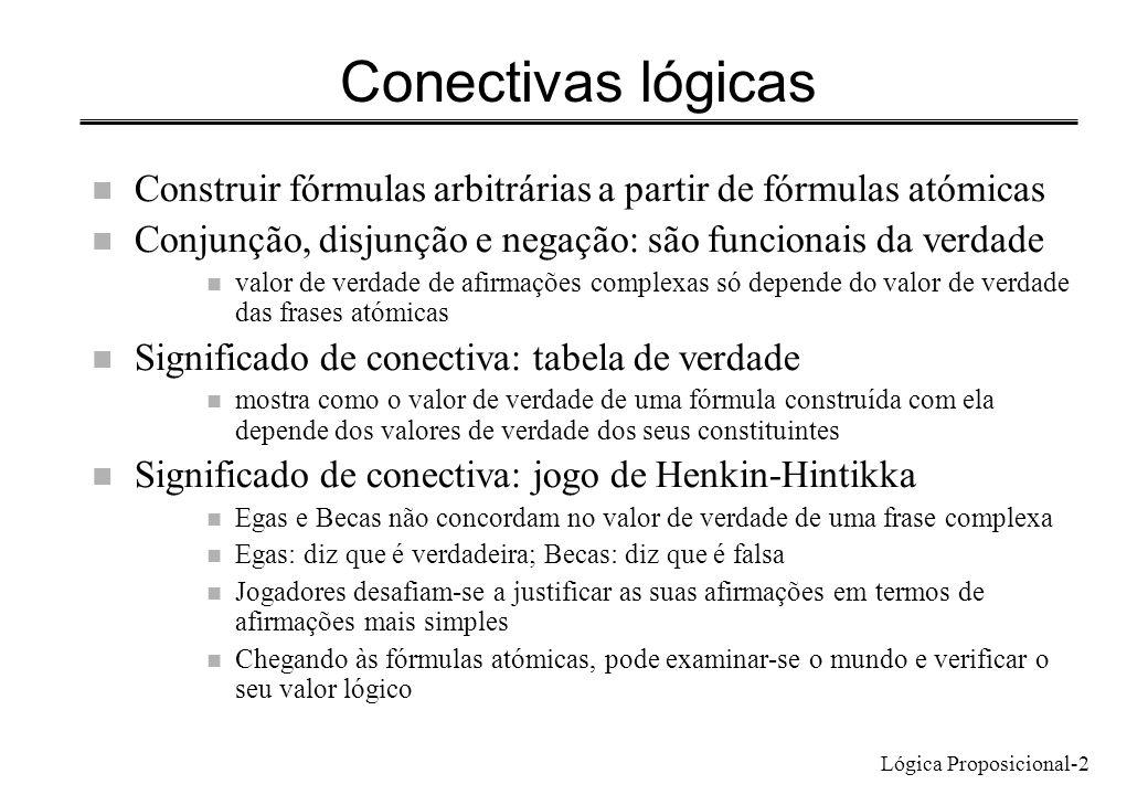 Lógica Proposicional-2 Conectivas lógicas n Construir fórmulas arbitrárias a partir de fórmulas atómicas n Conjunção, disjunção e negação: são funcion