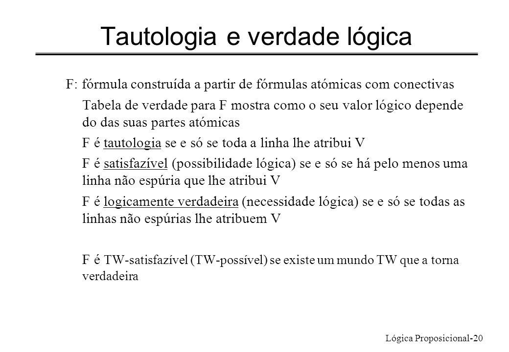 Lógica Proposicional-20 Tautologia e verdade lógica F: fórmula construída a partir de fórmulas atómicas com conectivas Tabela de verdade para F mostra