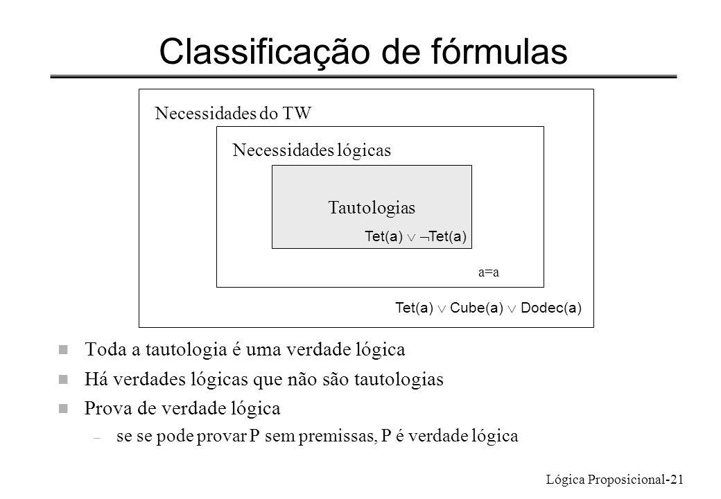 Lógica Proposicional-21 Classificação de fórmulas n Toda a tautologia é uma verdade lógica n Há verdades lógicas que não são tautologias n Prova de ve