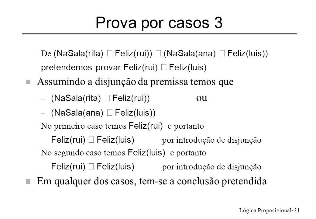 Lógica Proposicional-31 Prova por casos 3 De (NaSala(rita) Feliz(rui)) (NaSala(ana) Feliz(luis)) pretendemos provar Feliz(rui) Feliz(luis) n Assumindo