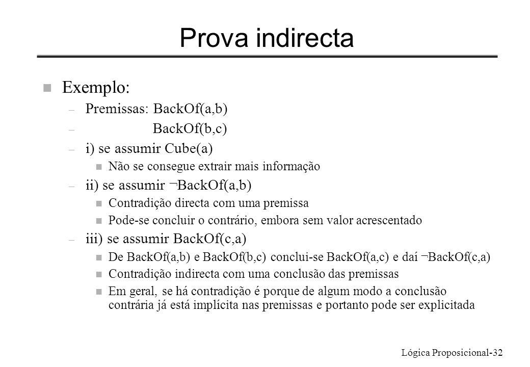 Lógica Proposicional-32 Prova indirecta n Exemplo: – Premissas: BackOf(a,b) – BackOf(b,c) – i) se assumir Cube(a) n Não se consegue extrair mais infor