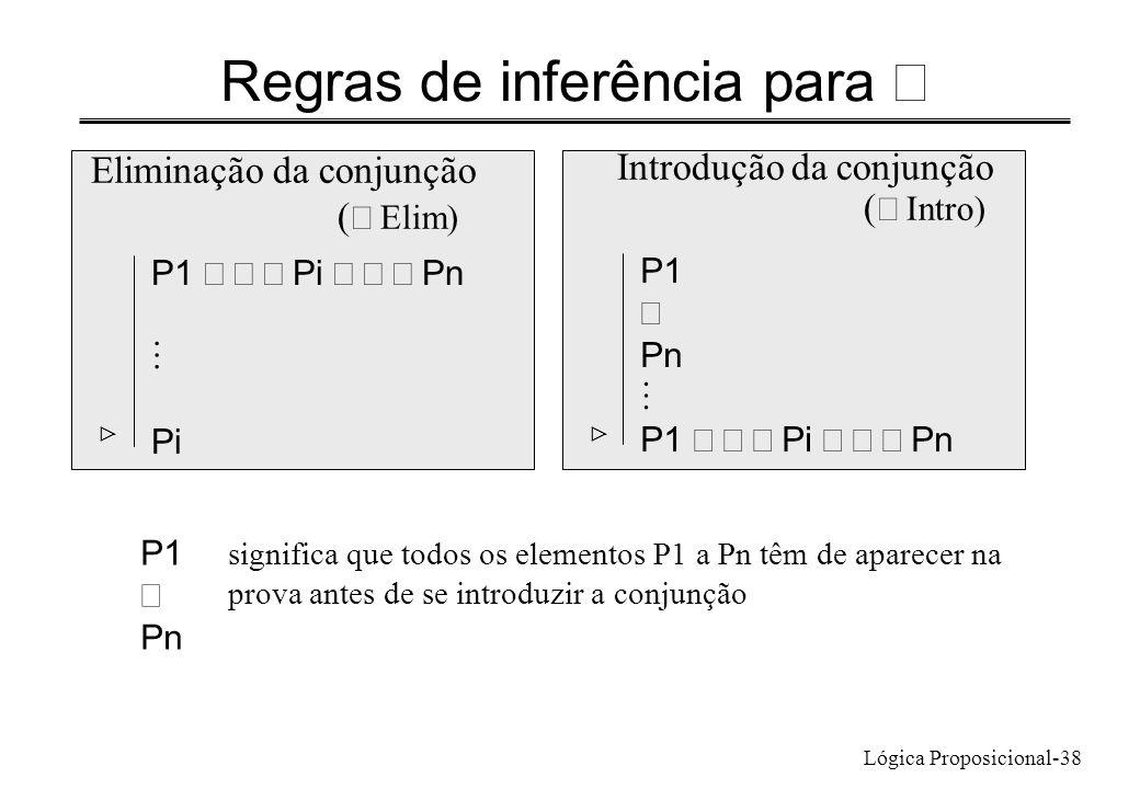 Lógica Proposicional-38 Regras de inferência para Eliminação da conjunção ( Elim) P1 Pi Pn Pi Introdução da conjunção ( Intro) P1 Pn P1 Pi Pn signific