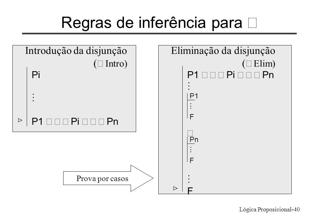 Lógica Proposicional-40 Regras de inferência para P1 Pi Pn F Eliminação da disjunção ( Elim) Introdução da disjunção ( Intro) Pi P1 Pi Pn P1 F Pn F Pr