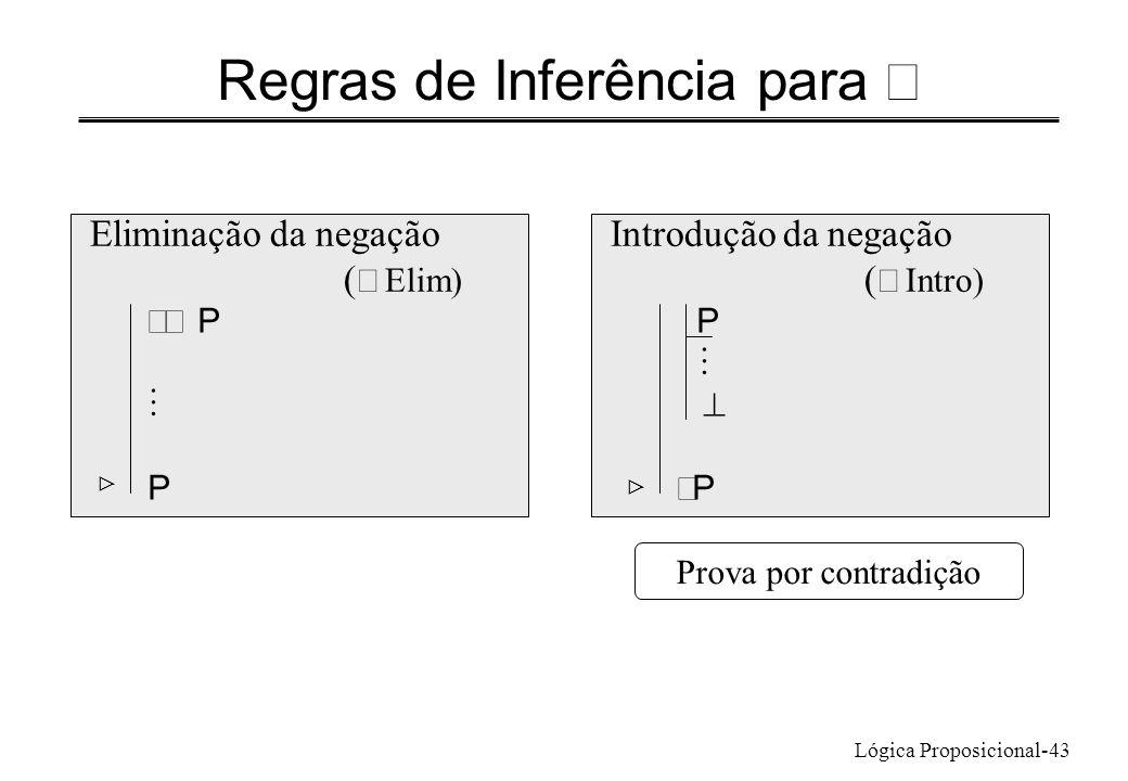 Lógica Proposicional-43 Regras de Inferência para Eliminação da negação ( Elim) Introdução da negação ( Intro) P P P Prova por contradição