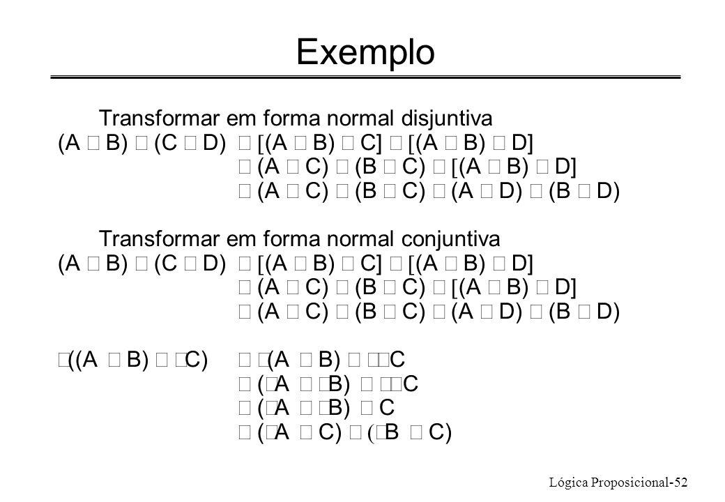 Lógica Proposicional-52 Exemplo Transformar em forma normal disjuntiva (A B) (C D) (A B) C] (A B) D] (A C) (B C) (A B) D] (A C) (B C) (A D) (B D) Tran