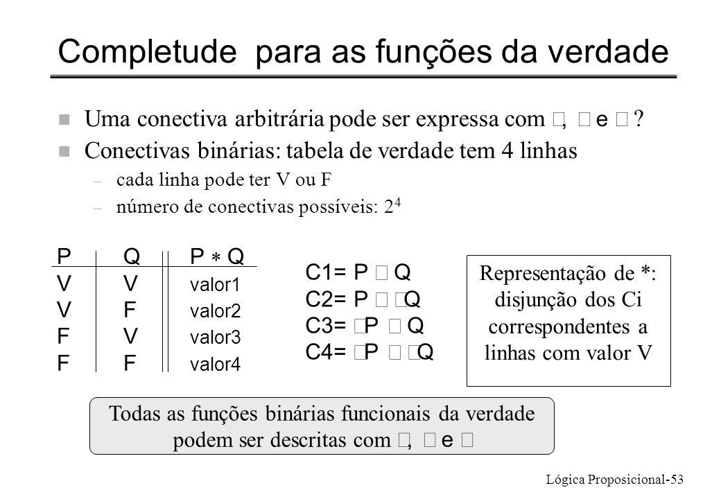 Lógica Proposicional-53 Completude para as funções da verdade Uma conectiva arbitrária pode ser expressa com, e ? n Conectivas binárias: tabela de ver