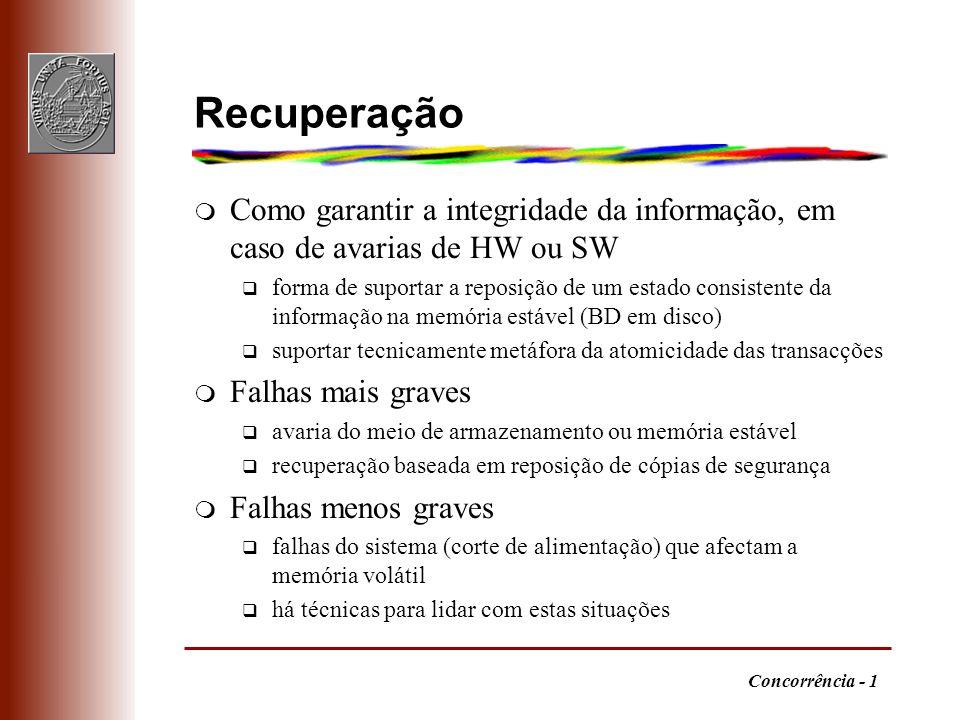 Concorrência - 1 Recuperação m Como garantir a integridade da informação, em caso de avarias de HW ou SW q forma de suportar a reposição de um estado