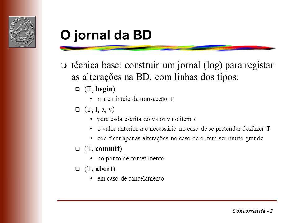 Concorrência - 2 O jornal da BD m técnica base: construir um jornal (log) para registar as alterações na BD, com linhas dos tipos: q (T, begin) marca