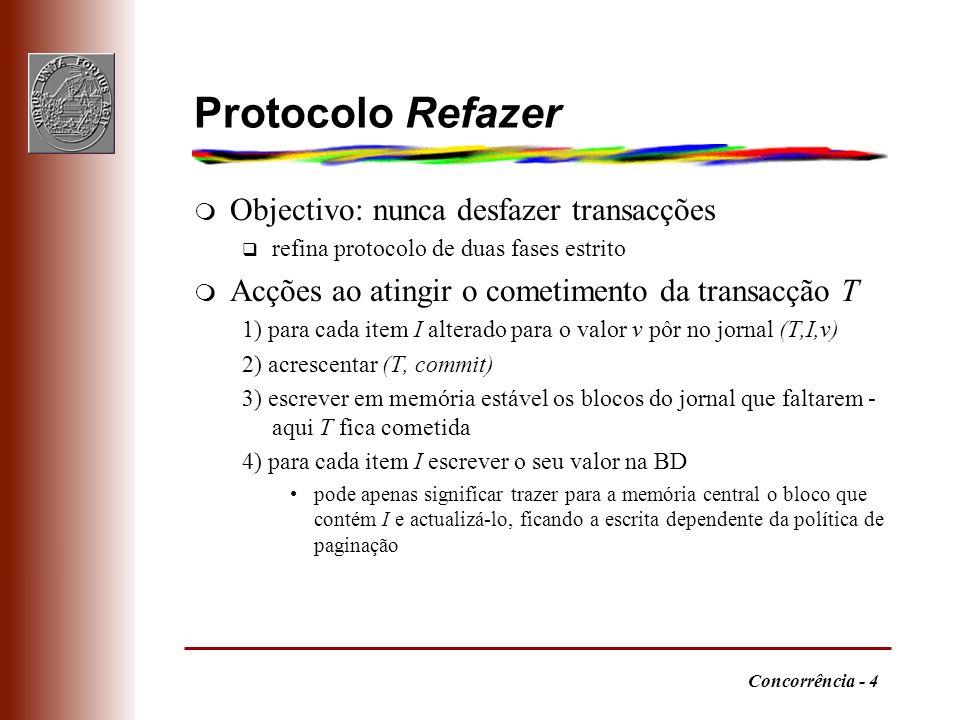 Concorrência - 4 Protocolo Refazer m Objectivo: nunca desfazer transacções q refina protocolo de duas fases estrito m Acções ao atingir o cometimento