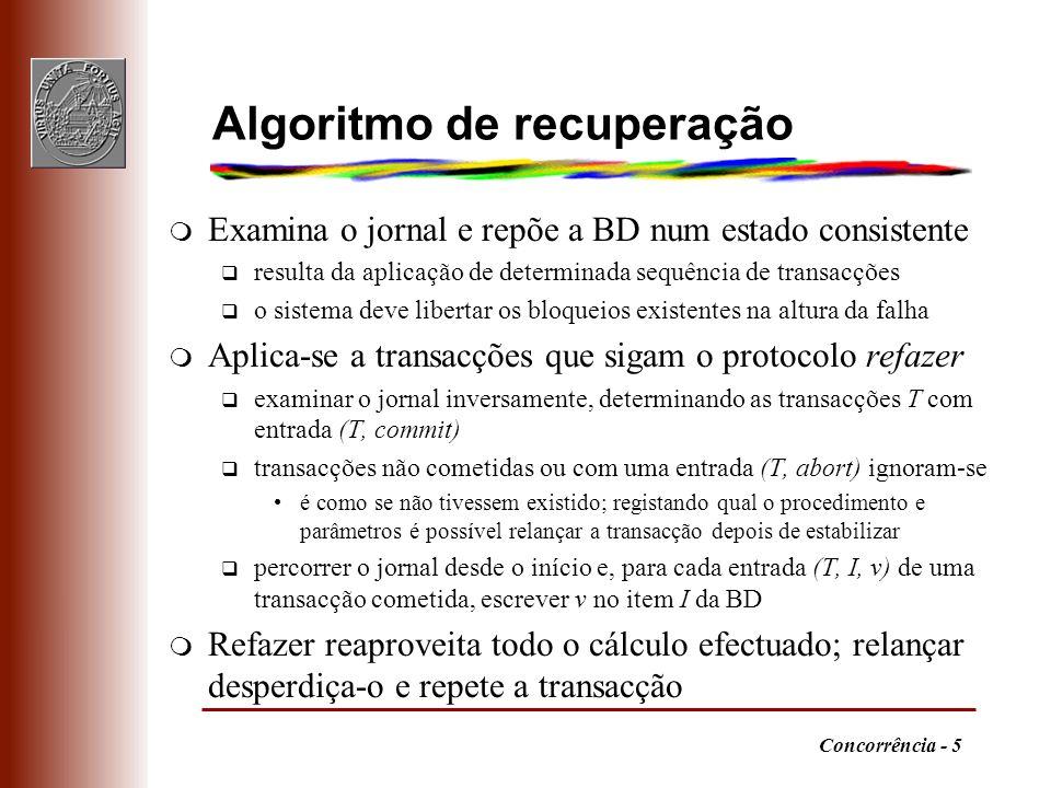 Concorrência - 5 Algoritmo de recuperação m Examina o jornal e repõe a BD num estado consistente q resulta da aplicação de determinada sequência de tr