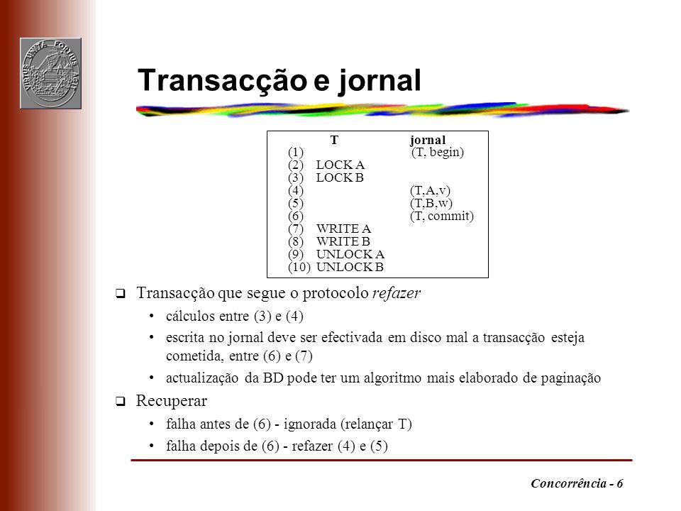Concorrência - 6 Transacção e jornal q Transacção que segue o protocolo refazer cálculos entre (3) e (4) escrita no jornal deve ser efectivada em disc