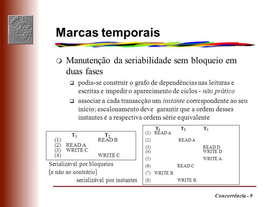 Concorrência - 9 Marcas temporais m Manutenção da seriabilidade sem bloqueio em duas fases q podia-se construir o grafo de dependências nas leituras e