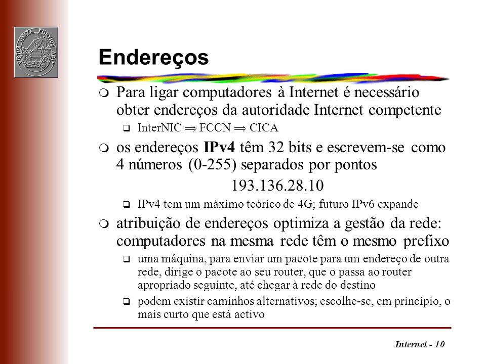 Internet - 10 Endereços m Para ligar computadores à Internet é necessário obter endereços da autoridade Internet competente q InterNIC FCCN CICA m os
