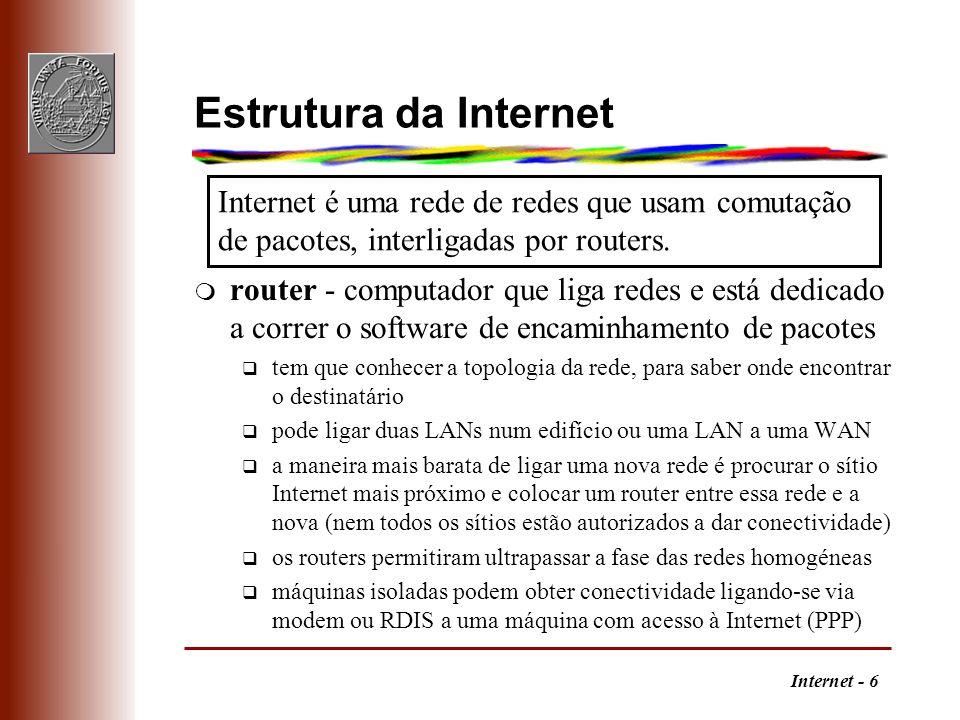 Internet - 6 Estrutura da Internet m router - computador que liga redes e está dedicado a correr o software de encaminhamento de pacotes q tem que con