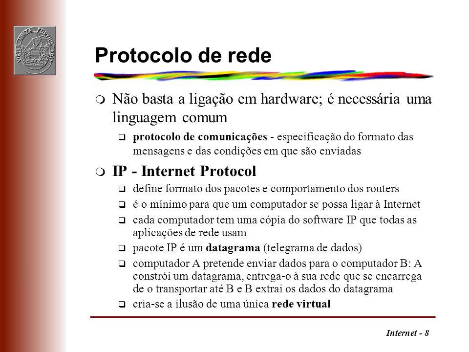 Internet - 8 Protocolo de rede m Não basta a ligação em hardware; é necessária uma linguagem comum q protocolo de comunicações - especificação do form
