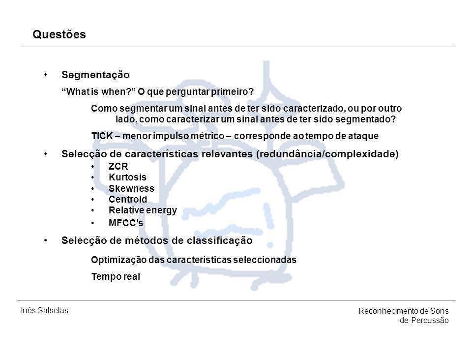 Inês Salselas Reconhecimento de Sons de Percussão Frameworks Análise, Classificação e Processamento de Áudio CLAM Plataforma (infra-estrutura) de prog