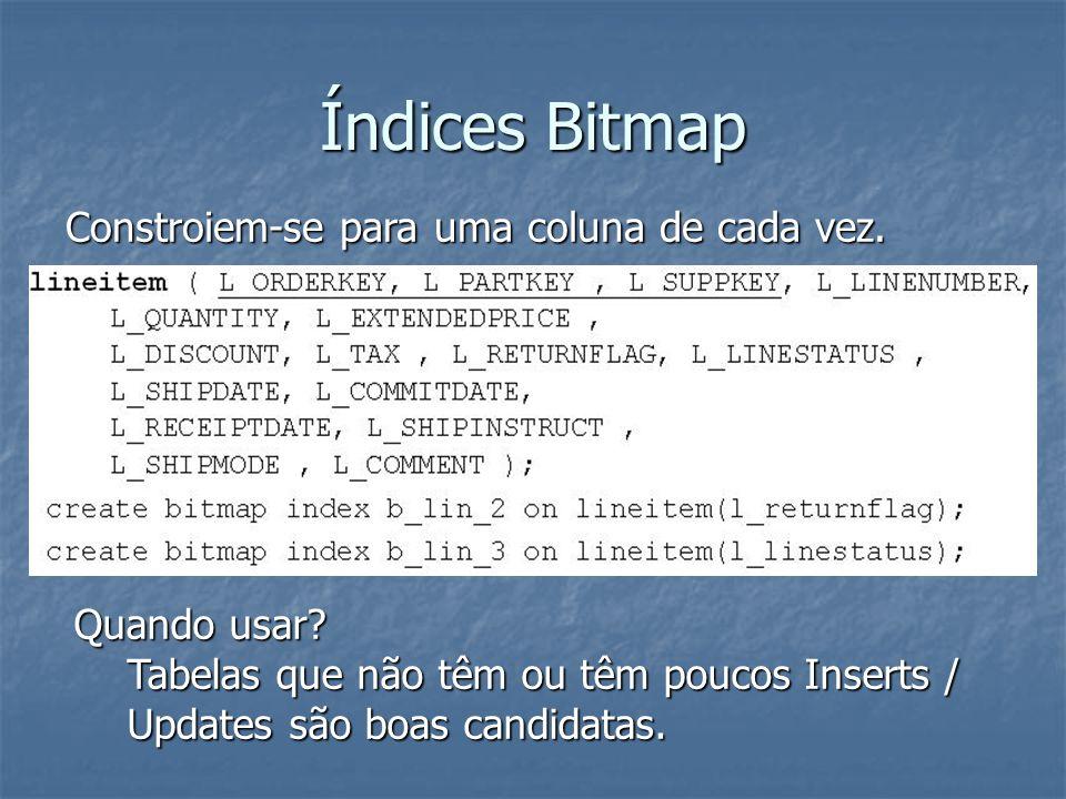 Índices Bitmap Adequam-se melhor a múltiplas condições sobre vários atributos que tenham cardinalidade baixa(poucas valores únicos).