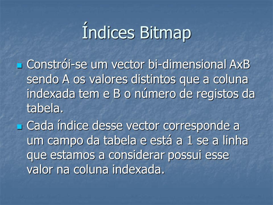 Índices Multidimensionais – Bitmap Operações de comparação, join e agregados são mais eficientes porque se reduzem a operações de aritmética binária