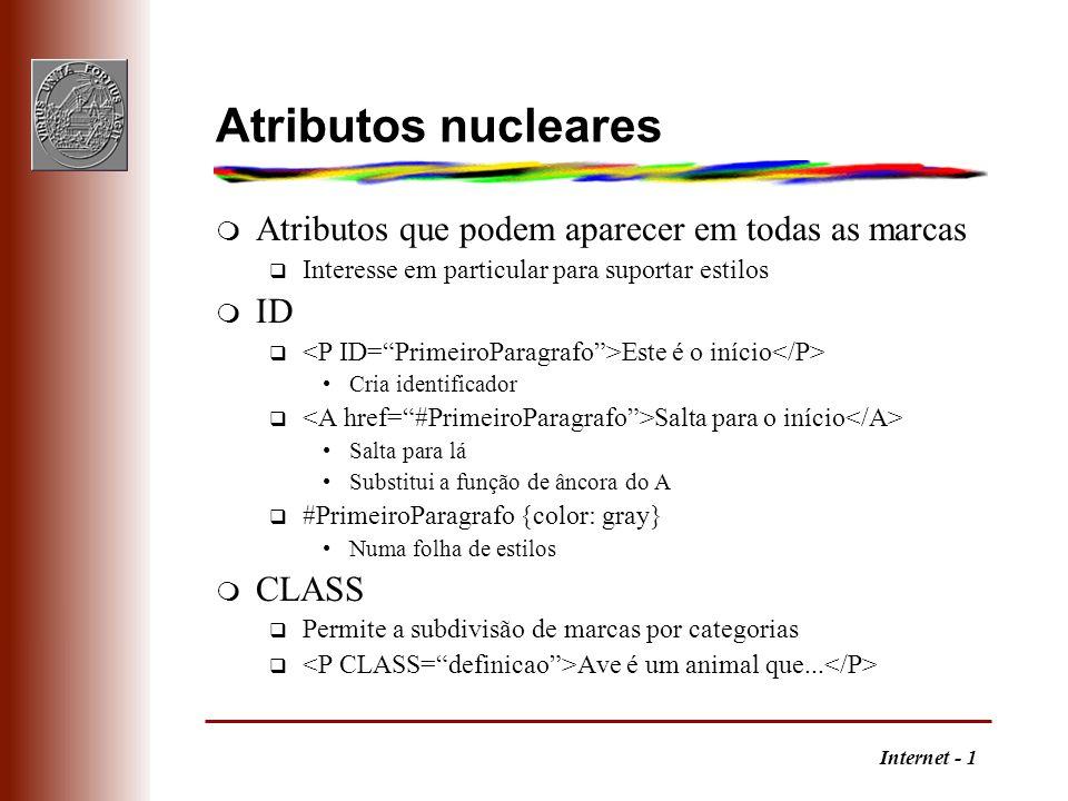 Internet - 1 Atributos nucleares m Atributos que podem aparecer em todas as marcas q Interesse em particular para suportar estilos m ID q Este é o iní