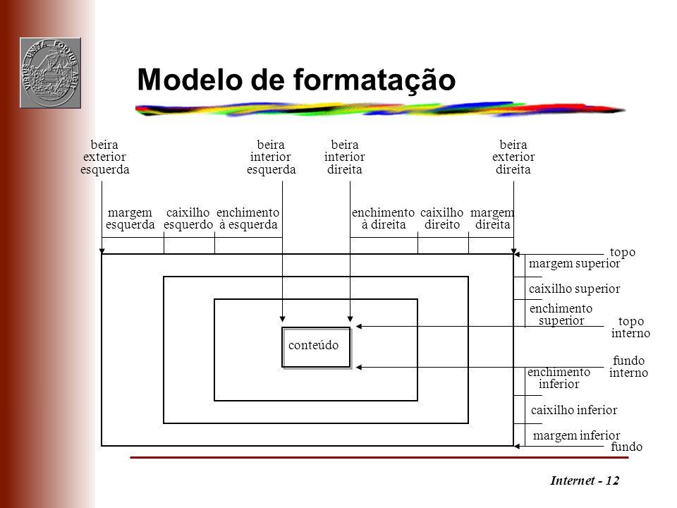 Internet - 12 Modelo de formatação beira exterior esquerda beira interior direita beira interior esquerda margem esquerda margem direita enchimento à