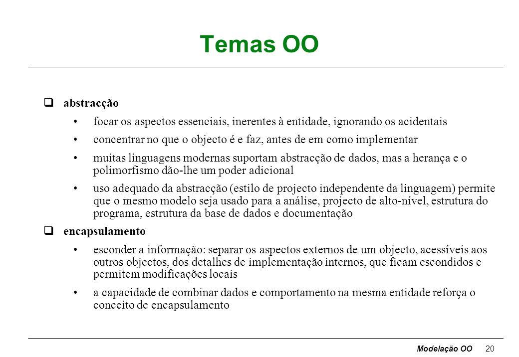 Modelação OO19 Comparação qproblemas diferentes põem ênfase diferente nos vários modelos, mas os três são necessários em qualquer grande sistema qquan