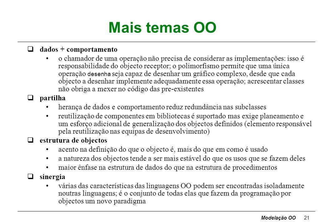 Modelação OO20 Temas OO qabstracção focar os aspectos essenciais, inerentes à entidade, ignorando os acidentais concentrar no que o objecto é e faz, a