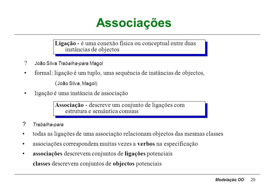 Modelação OO28 Notação para classes nome-atributo-1 : tipo-1 = valor-omissão-1 nome-atributo-2 : tipo-2 = valor-omissão-2 °°° nome-operação-1 (lista-a