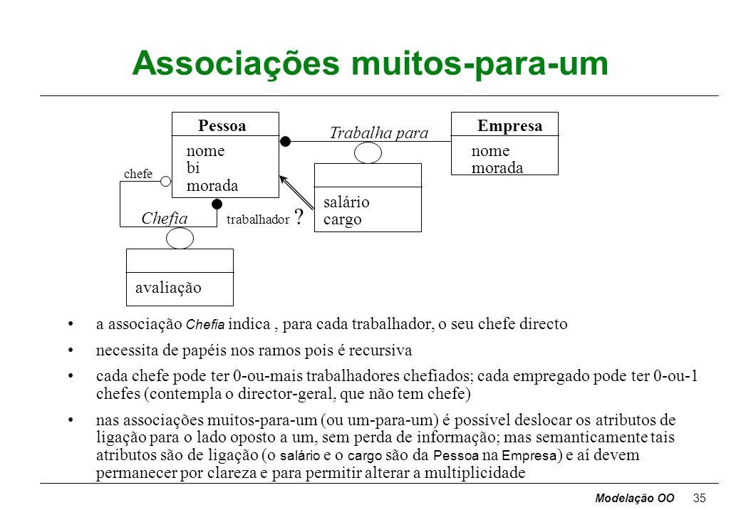 Modelação OO34 Atributos das ligações Atributo - propriedade dos objectos numa classe. Atributo de ligação - propriedade das ligações numa associação.