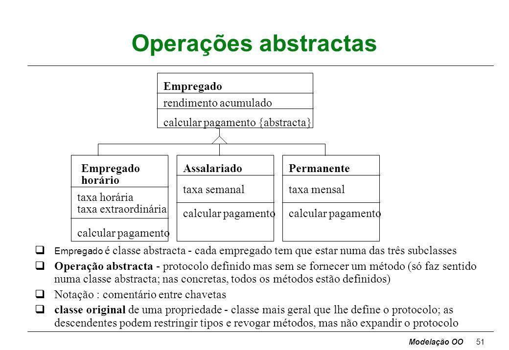 Modelação OO50 Classes abstractas Classe abstracta - classe sem instâncias directas, mas cujas classes descendentes possuem instâncias directas. Class