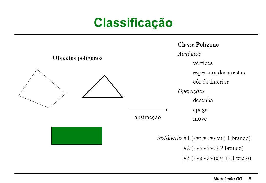 Modelação OO26 Operações e métodos Operação - função ou transformação que pode ser aplicada a objectos ou por objectos duma classe [operações na classe Janela : abrir, fechar, esconder, desenhar ] qtodos os objectos de uma classe partilham as mesmas operações qa efectivação de uma operação tem sempre um objecto alvo como argumento implícito qcomportamento da operação depende da classe do alvo (um objecto sabe qual a sua classe) qa mesma operação abstracta corresponde a vários métodos diferentes (polimorfismo) [a operação desenhar numa instância de Janela pode ser aplicar a todos os diferentes componentes dessa janela a operação desenhar, a qual num caso desenhará um botão, noutro um painel, etc] qoperações podem ter argumentos explícitos, mas isso não afecta a escolha do método qtodos os métodos para uma operação devem ter a mesma assinatura (número e tipo dos argumentos e tipo do resultado) quma operação deve ser uma abstracção com uma semântica consistente: não usar o mesmo nome para conceitos distintos [inverter uma matriz e inverter uma figura plana]
