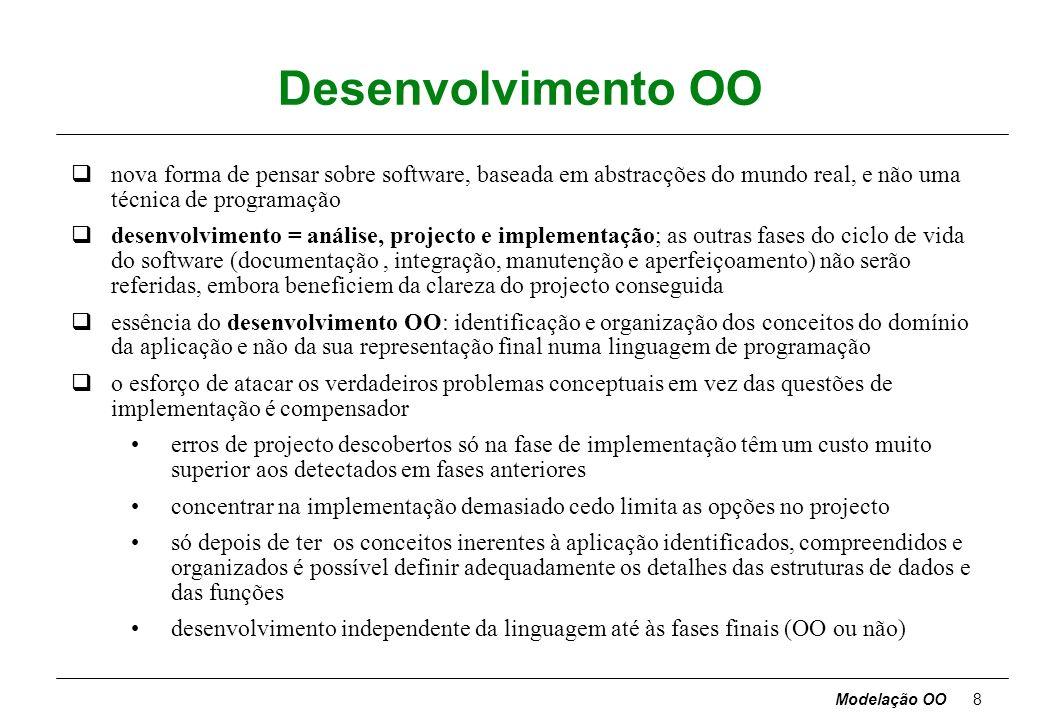 Modelação OO7 Características dos objectos (cont.) Polimorfismo - a mesma operação comporta-se de forma diferente em diferentes classes [ move terá ef