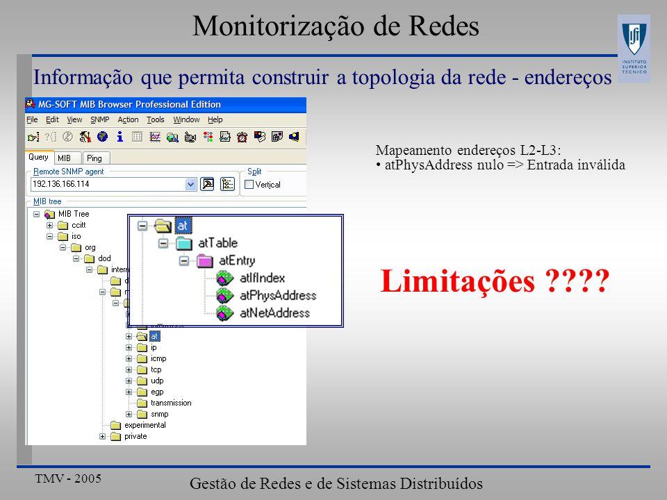 TMV - 2005 Gestão de Redes e de Sistemas Distribuídos Monitorização de Redes Informação que permita construir a topologia da rede - endereços Mapeamento endereços L2-L3: atPhysAddress nulo => Entrada inválida Limitações