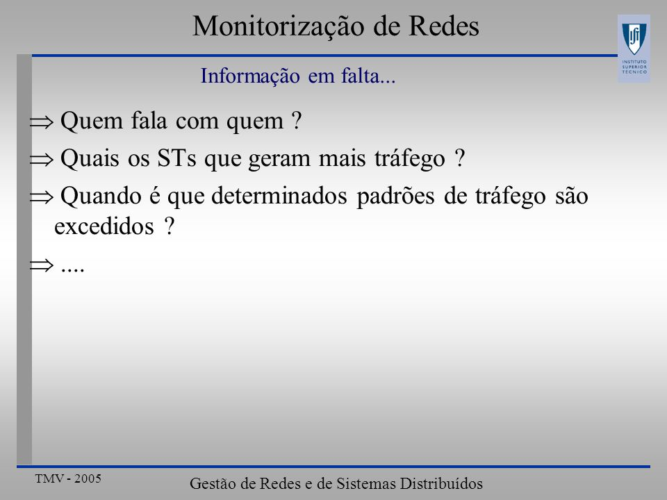 TMV - 2005 Gestão de Redes e de Sistemas Distribuídos Monitorização de Redes Quem fala com quem .