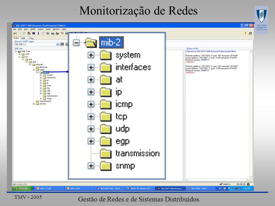 TMV - 2005 Gestão de Redes e de Sistemas Distribuídos Arquitectura de Gestão Internet-SNMPv1 ObjectoAcessoDescrição ipRouteTableNATabela de encaminhamento ipRouteEntryNAInformação de endereço referente à rota para um dado destino ipRouteDestRWEndereço de destino ipRouteIffIndexRWÍndice da interface associada ao próximo nó (NextHop) para o destino ipRouteMetric RWMétrica de encaminhamento ipRouteNextHopRWEndereço IP do próximo nó ipRouteTypeRWTipo de encaminhamento ipRouteProtoROIdentificador do protocolo de encaminhamento ipRouteAgeRWTempo que decorreu desde a última actualização à tabela de encaminhamento ipRouteMaskRWMáscara a ser aplicada ao endereço antes da comparação com IpRouteDest ipRouteInfoROInformação específica do protocolo de encaminhamento (outras MIBs) Informação da tabela de ipRouteTable