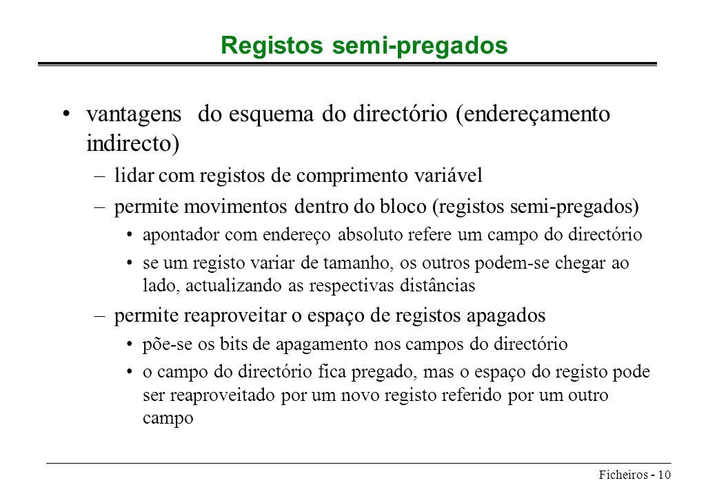 Ficheiros - 10 Registos semi-pregados vantagens do esquema do directório (endereçamento indirecto) –lidar com registos de comprimento variável –permit