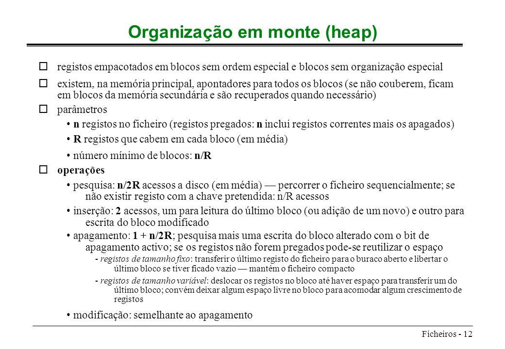 Ficheiros - 12 Organização em monte (heap) oregistos empacotados em blocos sem ordem especial e blocos sem organização especial oexistem, na memória p