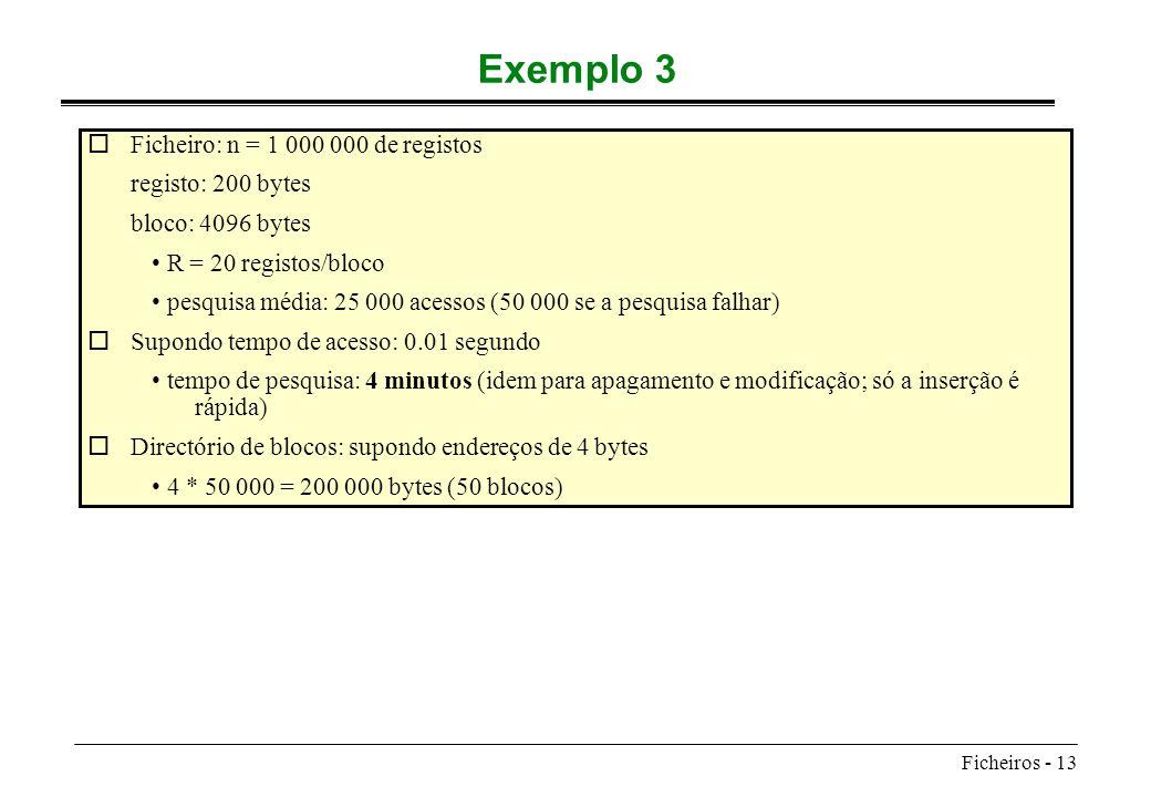 Ficheiros - 13 Exemplo 3 oFicheiro: n = 1 000 000 de registos registo: 200 bytes bloco: 4096 bytes R = 20 registos/bloco pesquisa média: 25 000 acesso