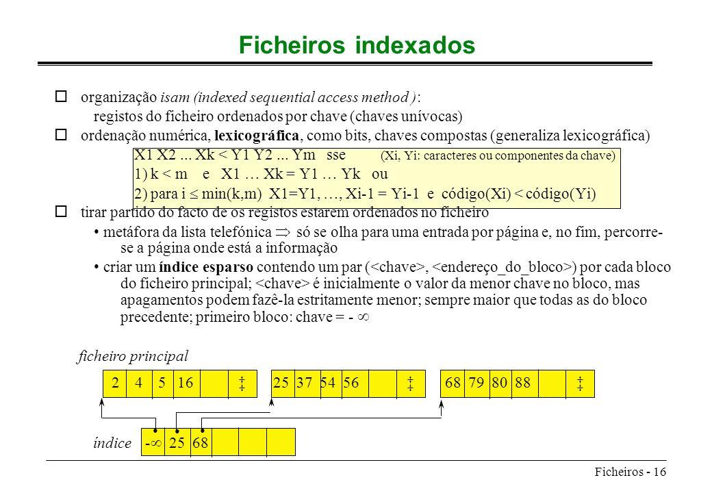 Ficheiros - 16 Ficheiros indexados oorganização isam (indexed sequential access method ): registos do ficheiro ordenados por chave (chaves unívocas) o
