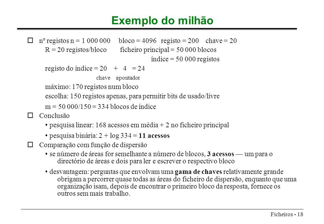 Ficheiros - 18 Exemplo do milhão onº registos n = 1 000 000 bloco = 4096 registo = 200 chave = 20 R = 20 registos/bloco ficheiro principal = 50 000 bl