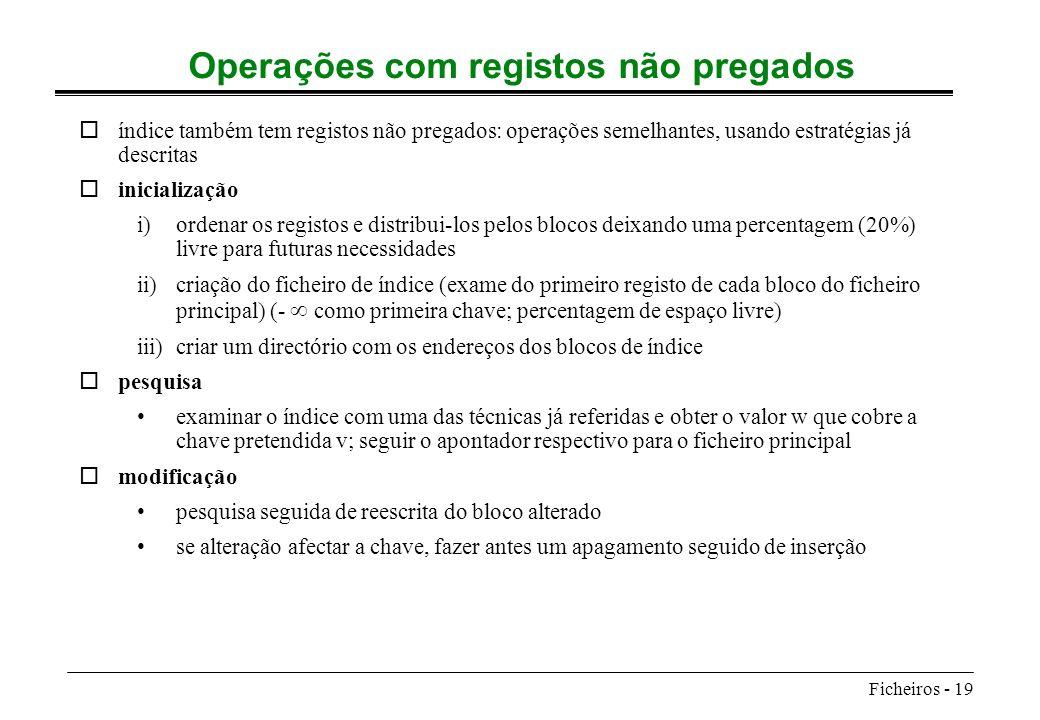 Ficheiros - 19 Operações com registos não pregados oíndice também tem registos não pregados: operações semelhantes, usando estratégias já descritas oi