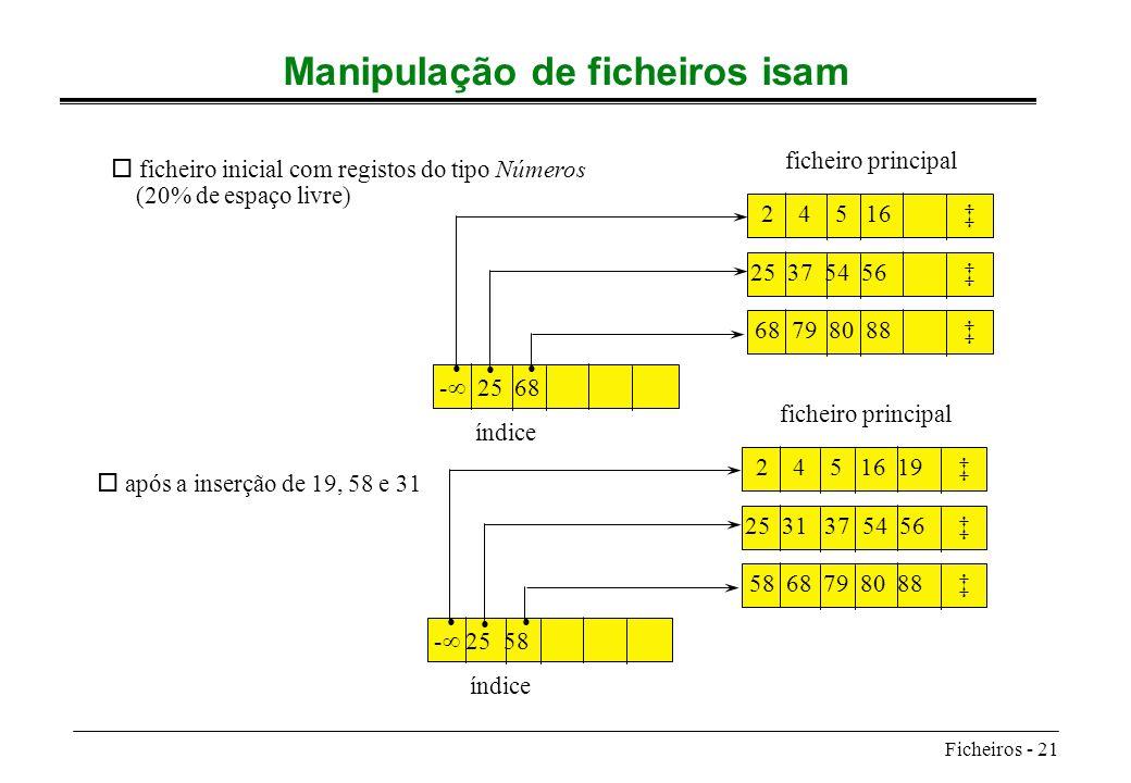 Ficheiros - 21 Manipulação de ficheiros isam 2 4 5 16 25 37 54 56 68 79 80 88 - 25 68 índice ficheiro principal o ficheiro inicial com registos do tip