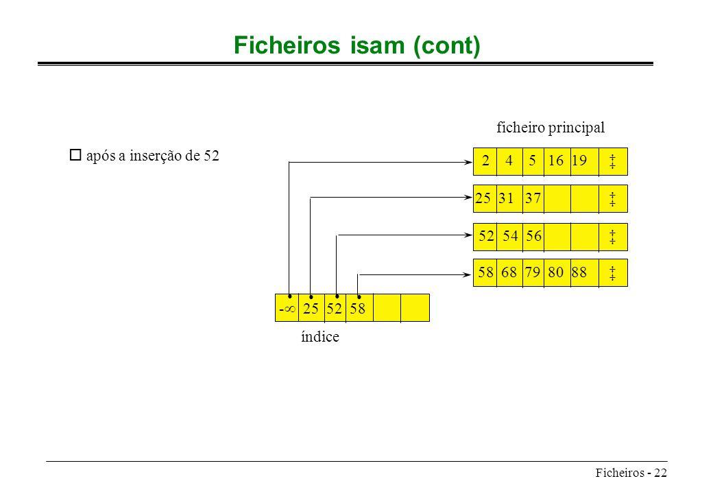 Ficheiros - 22 Ficheiros isam (cont) 2 4 5 16 19 52 54 56 58 68 79 80 88 - 25 52 58 índice ficheiro principal o após a inserção de 52 25 31 37