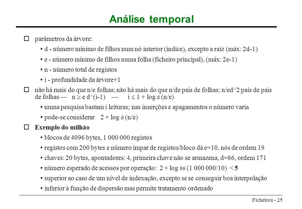 Ficheiros - 25 Análise temporal oparâmetros da árvore: d - número mínimo de filhos num nó interior (índice), excepto a raiz (máx: 2d-1) e - número mín
