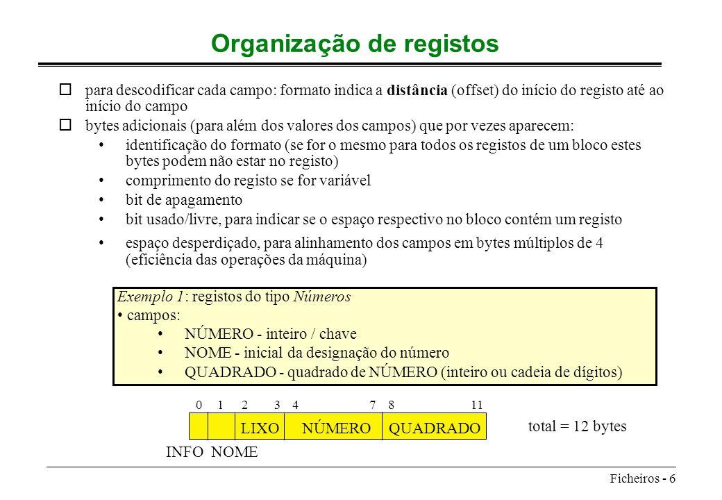 Ficheiros - 6 Organização de registos opara descodificar cada campo: formato indica a distância (offset) do início do registo até ao início do campo o