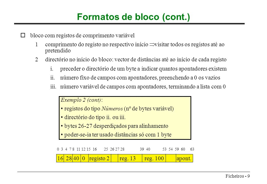 Ficheiros - 9 Formatos de bloco (cont.) obloco com registos de comprimento variável 1comprimento do registo no respectivo início visitar todos os regi