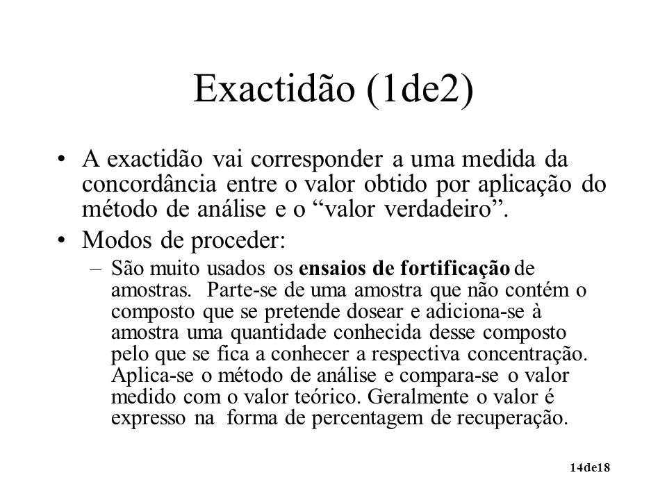 14de18 Exactidão (1de2) A exactidão vai corresponder a uma medida da concordância entre o valor obtido por aplicação do método de análise e o valor verdadeiro.