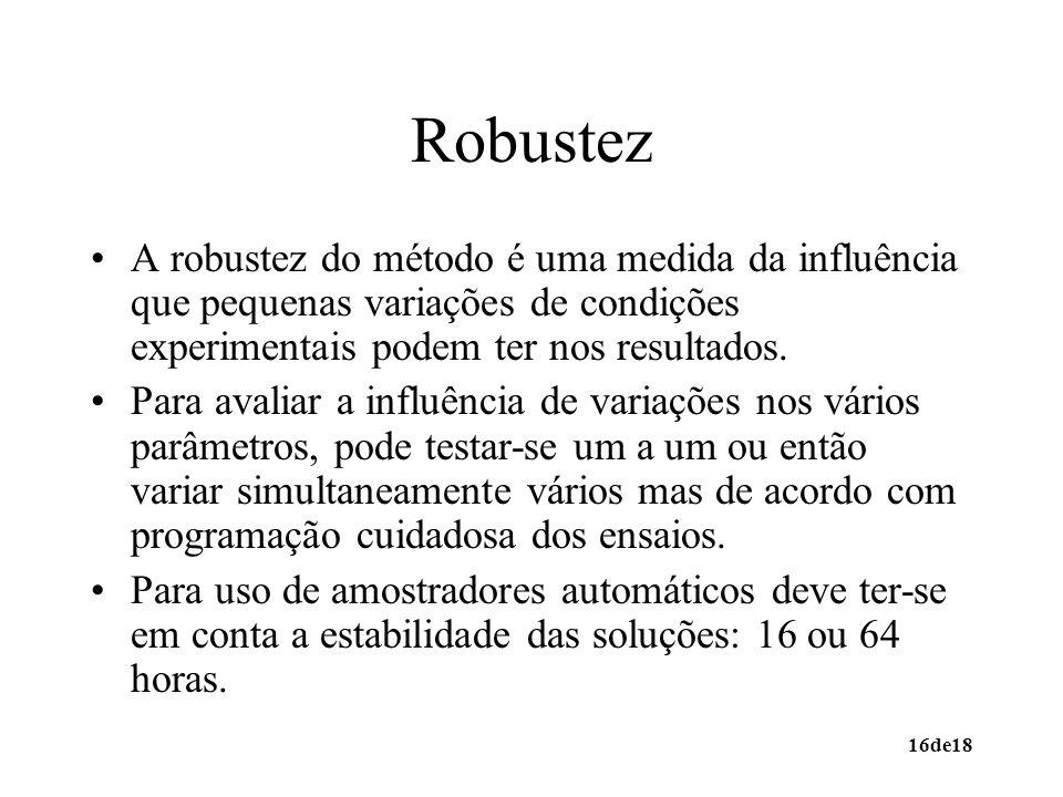 16de18 Robustez A robustez do método é uma medida da influência que pequenas variações de condições experimentais podem ter nos resultados. Para avali